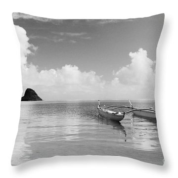 Canoe Landscape - Bw Throw Pillow by Joss - Printscapes