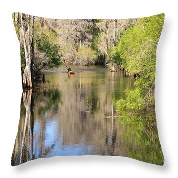 Canoeing On The Hillsborough River Throw Pillow by Carol Groenen