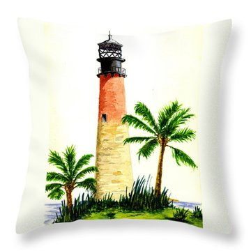 Cape Florida Lighthouse Throw Pillow by Michael Vigliotti