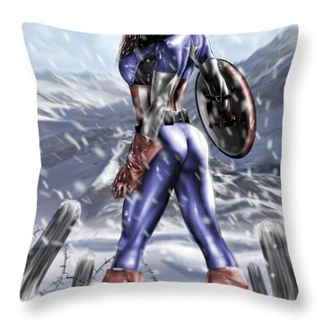 Captain America Throw Pillow by Pete Tapang