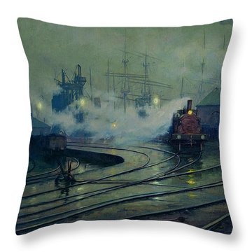 Cardiff Docks Throw Pillow by Lionel Walden