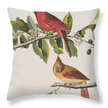 Cardinal Grosbeak Throw Pillow by John James Audubon