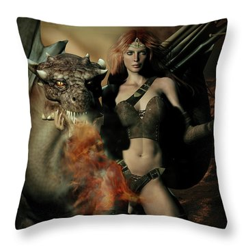 Careful He Burns Throw Pillow by Shanina Conway