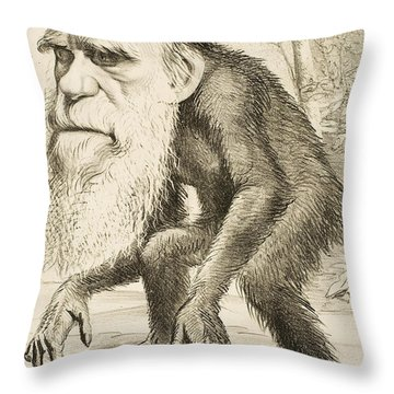 Caricature Of Charles Darwin Throw Pillow by English School