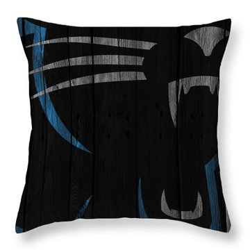 Caroilina Panthers Wood Fence Throw Pillow by Joe Hamilton
