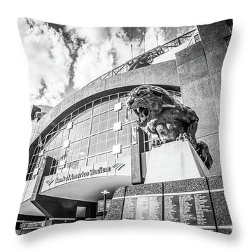 Carolina Panthers Stadium Black And White Photo Throw Pillow by Paul Velgos