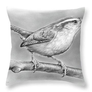 Carolina Wren Throw Pillow by Greg Joens