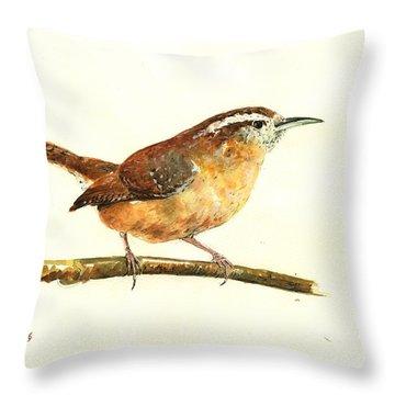 Carolina Wren Watercolor Painting Throw Pillow by Juan  Bosco