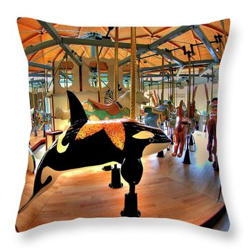 Carousel 2 At The Butchart Gardens Throw Pillow by Lawrence Christopher