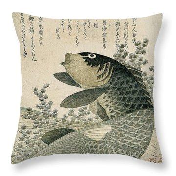 Carp Among Pond Plants Throw Pillow by Ryuryukyo Shinsai
