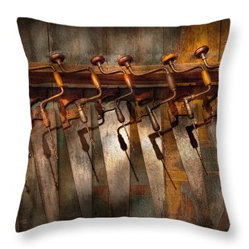 Carpenter  - Saws And Braces  Throw Pillow by Mike Savad
