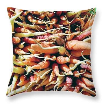 Carrots Throw Pillow by Ian MacDonald