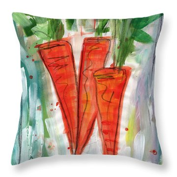 Carrots Throw Pillow by Linda Woods