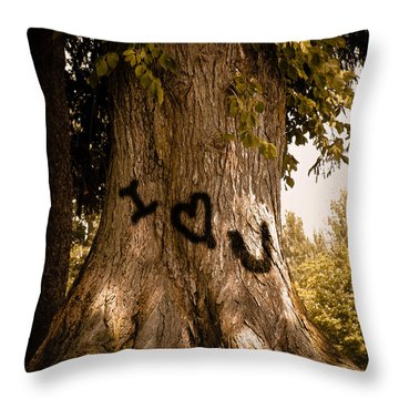 Carve I Love You In That Big White Oak Throw Pillow by Trish Tritz