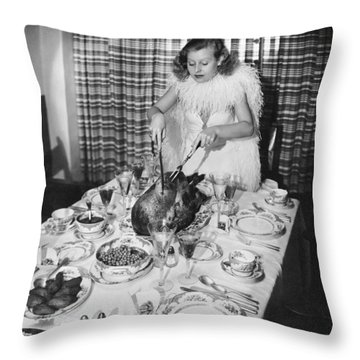 Carving The Thanksgiving Turkey Throw Pillow by American School