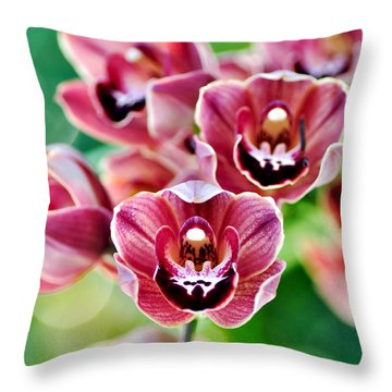 Cascading Miniature Orchids Throw Pillow by Kaye Menner