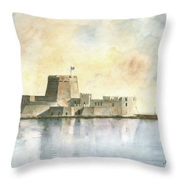 Castle Of Bourtzi In Nafplio Throw Pillow by Juan Bosco