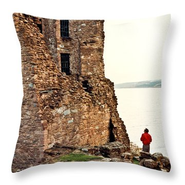 Castle Ruins On The Seashore In Ireland Throw Pillow by Douglas Barnett