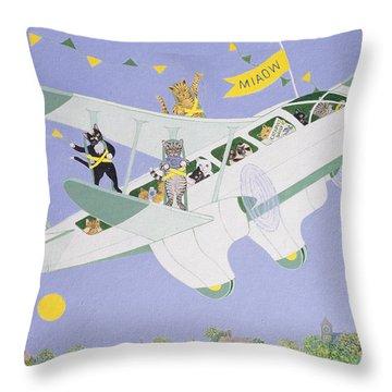 Cat Air Show Throw Pillow by Pat Scott
