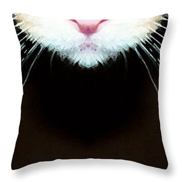 Cat Art - Super Whiskers Throw Pillow by Sharon Cummings