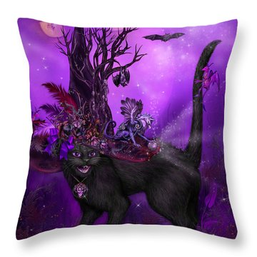 Cat In Goth Witch Hat Throw Pillow by Carol Cavalaris