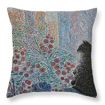 Cat On My Window Throw Pillow by Anna Yurasovsky