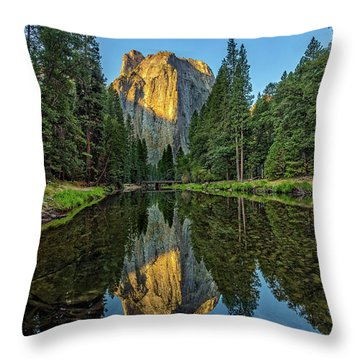 Cathedral Rocks Morning Throw Pillow by Peter Tellone