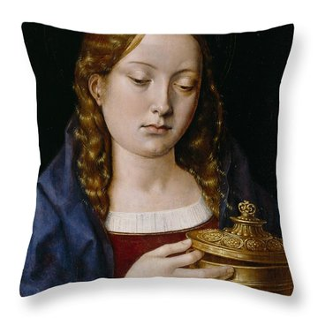 Catherine Of Aragon As The Magdalene Throw Pillow by Michiel Sittow