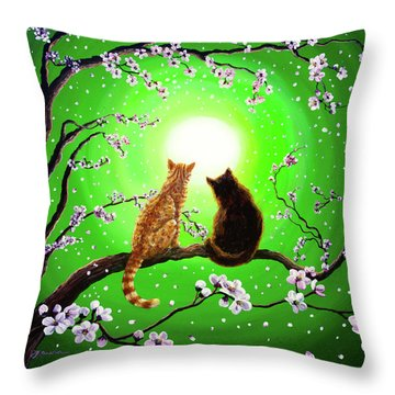 Cats On A Spring Night Throw Pillow by Laura Iverson