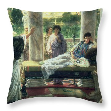 Catullus Reading His Poems Throw Pillow by Sir Lawrence Alma Tadema