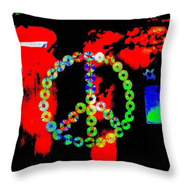 Cd Peace Cycle Throw Pillow by Connie Valasco