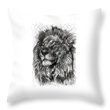 Cecil The Lion Throw Pillow by Michael  Volpicelli
