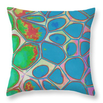 Cells Abstract Three Throw Pillow by Edward Fielding