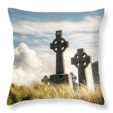 Celtic Grave Markers Throw Pillow by Natasha Bishop