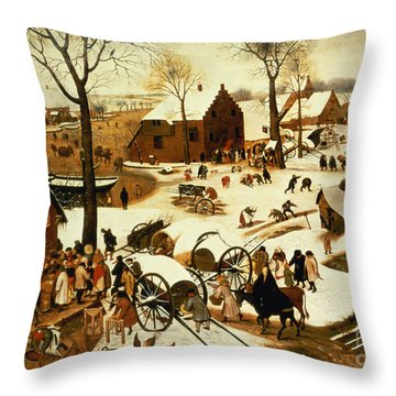 Census At Bethlehem Throw Pillow by Pieter the Elder Bruegel