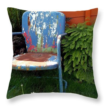 Chair Of Many Colors Throw Pillow by Patricia Strand