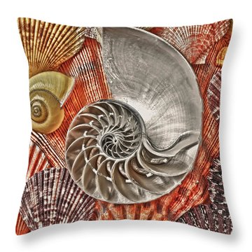 Chambered Nautilus Shell Abstract Throw Pillow by Garry Gay