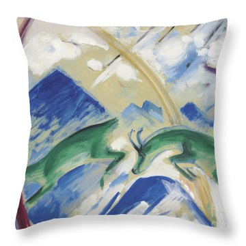 Chamois Throw Pillow by Franz Marc