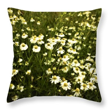 Throw Pillow featuring the painting Chamomile Lawn by Frank Tschakert
