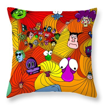 Characters In Color Throw Pillow by Jera Sky