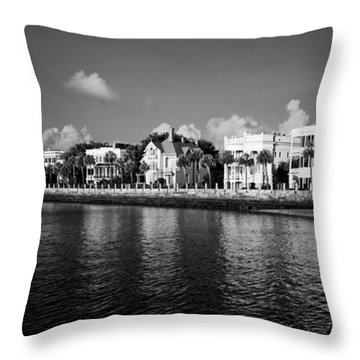 Charleston Battery Row Black And White Throw Pillow by Dustin K Ryan