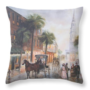 Charleston Somewhere In Time Throw Pillow by Charles Roy Smith