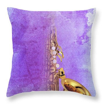 Charlie Parker Saxophone Purple Vintage Poster And Quote, Gift For Musicians Throw Pillow by Pablo Franchi