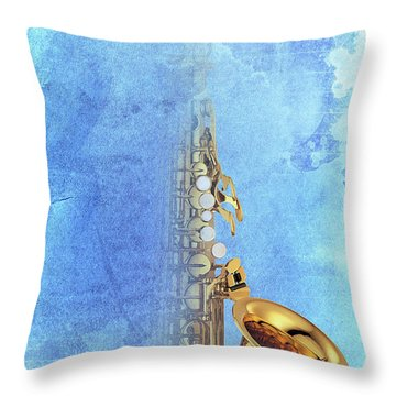 Charlie Parker Saxophone Vintage Poster And Quote, Gift For Musicians Throw Pillow by Pablo Franchi