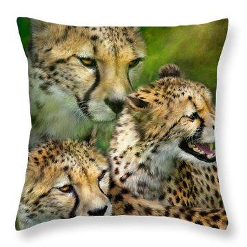 Cheetah Moods Throw Pillow by Carol Cavalaris
