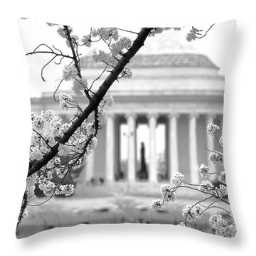 Cherry Tree And Jefferson Memorial Elegance  Throw Pillow by Olivier Le Queinec
