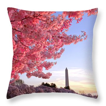 Cherry Tree And The Washington Monument  Throw Pillow by Olivier Le Queinec