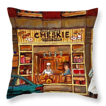 Cheskies Hamishe Bakery Throw Pillow by Carole Spandau
