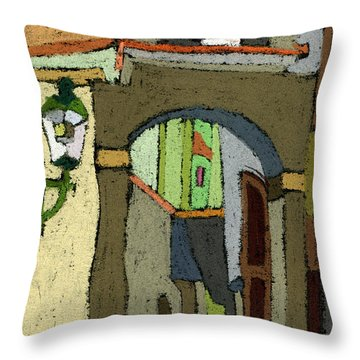 Chesky Krumlov Old Street Latran  Throw Pillow by Yuriy  Shevchuk