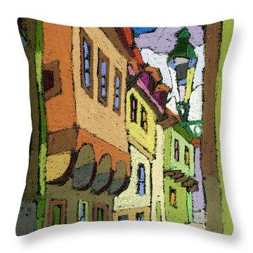 Chesky Krumlov Street Nove Mesto Throw Pillow by Yuriy  Shevchuk